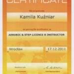 licencja B instruktora fitness, fizjoterapeutka Kamila Kuźniar-Kosowska, RehaFit Wrocław