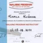 certyfikat ukończenia szkolenia indoor walking, fizjoterapeutka Kamila Kuźniar-Kosowska, RehaFit Wrocław