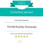 Certyfikat jakości dla fizjoterapeutki Kamili Kuźniar-Kosowskiej, RehaFit Wrocław.