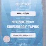 Dyplom ukończenia szkolenia Kinesiotaping Kamili Kuźniar-Kosowskiej z RehaFit we Wrocławiu.