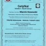 dyplom terapia manualna moduł AEX2, fizjoterapeuta Marcin Kosowski, RehaFit Wrocław
