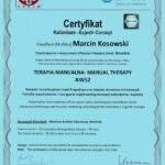 dyplom terapia manualna moduł AWS2, fizjoterapeuta Marcin Kosowski, RehaFit Wrocław