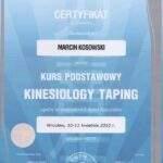 dyplom kinesiotaping, fizjoterapeuta Marcin Kosowski, RehaFit Wrocław