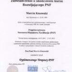 dyplom ukończenia kursu rozwijającego rehabilitacji PNF, fizjoterapeuta Marcin Kosowski, RehaFit Wrocław