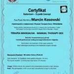 dyplom terapia manualna moduł OEX, fizjoterapeuta Marcin Kosowski, RehaFit Wrocław