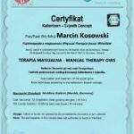 dyplom terapia manualna moduł OWS, fizjoterapeuta Marcin Kosowski, RehaFit Wrocław