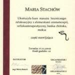 certyfikat ukończenia kursu masażu leczniczego, relaskacyjnego oraz bańką chińską, masażysta Maria Stachów, RehaFit Wrocław