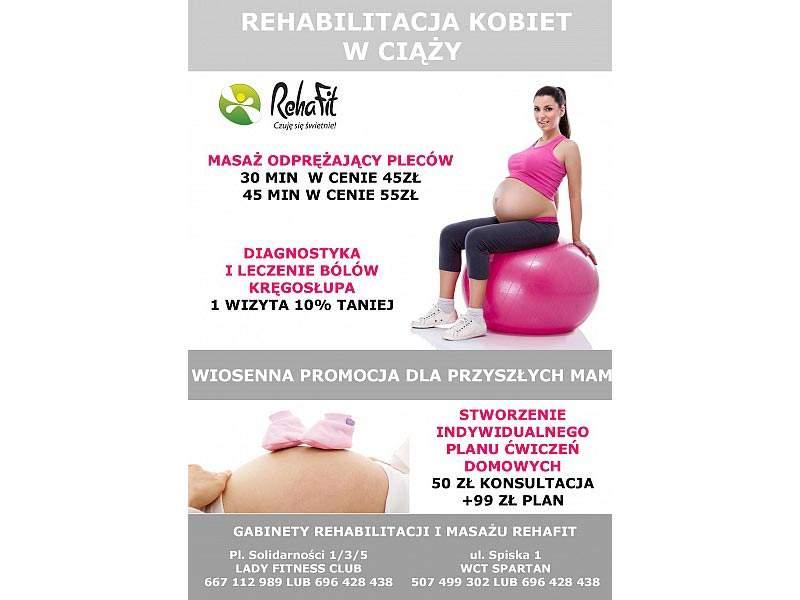 Promocja dla kobiet w ciąży w centrum rehabilitacji i masażu RehaFit.