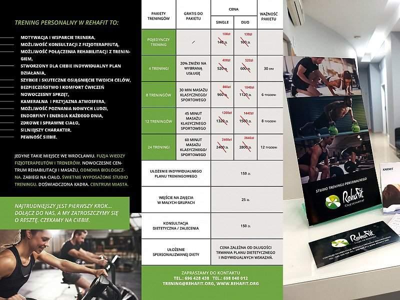 Cennik promocyjny na otwarcie studia treningu personalnego RehaFit.