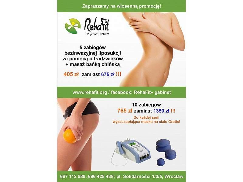 Przygotowanie do lata czyli promocja na zabiegi liposukcji ultradźwiękowej i masażu bańką chińską w RehaFit.