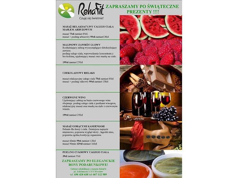 Świąteczne prezenty i pormocje na masaże z RehaFit