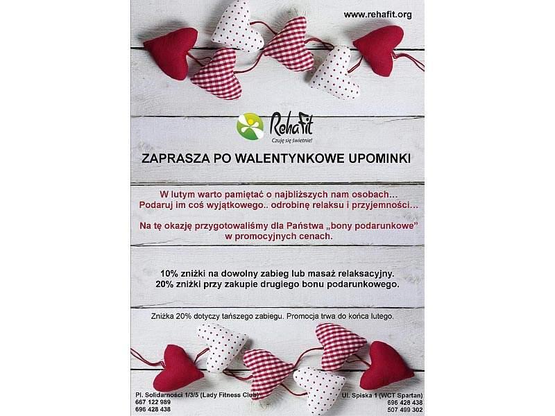Walentynkowe upominki w formie bonów na masaż w centrum RehaFit.