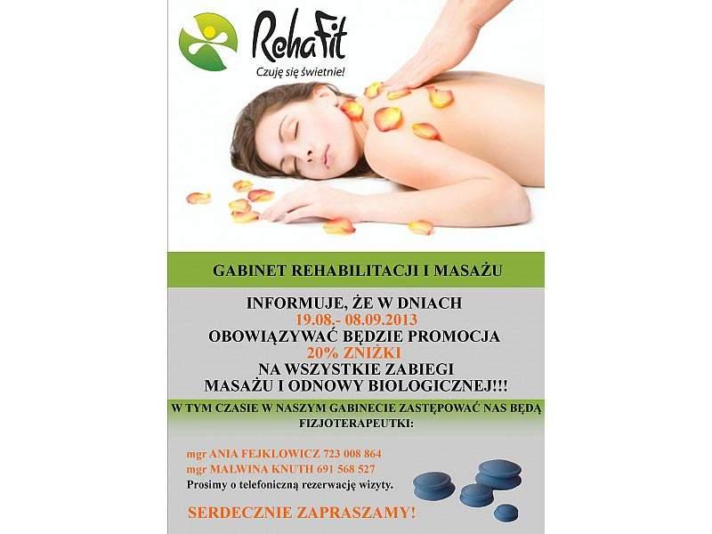 Wielka promocja urlopowa na wszystkie masażw w RehaFit.