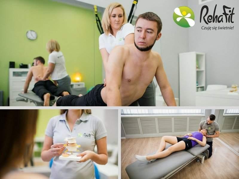 Fizjoterapeuci przeprowadzają kompleksową rehabilitację w bólach kręgosłupa. Wykorzystują terapię manualną, terapię McKenzie, kinesiotaping oraz różne formy masażu.