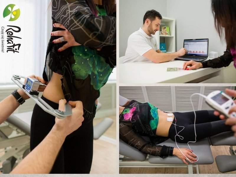 Fizjoterapeuta wykonujący elementy rehabilitacji w nietrzymaniu moczu i osłabieniu mięśni dna miednicy. Kompleksowa rehabilitacja uroginekologiczna.