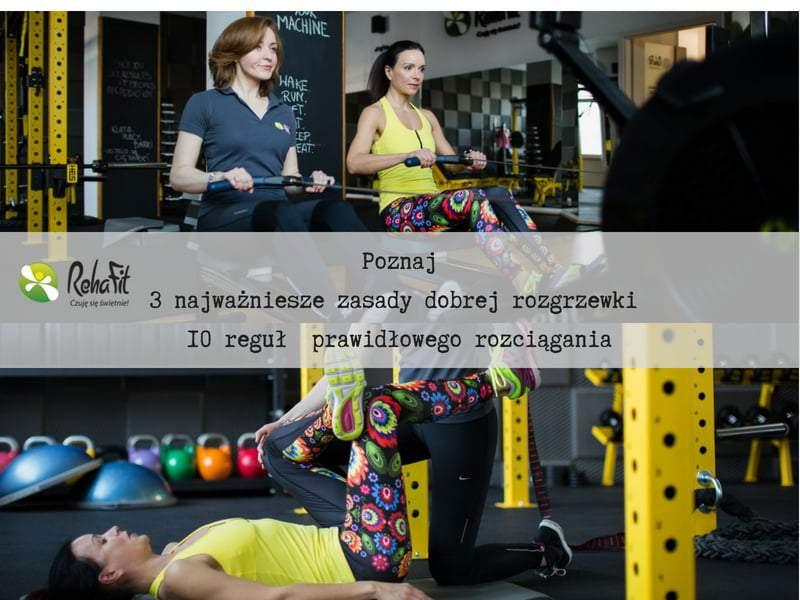 Trener personaln podczas ianstuktażu prawidłowej rozgrzewki i stretchingu.