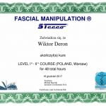 Dyplom z kursu Manipulacje Powięzi Wiktor Deroń
