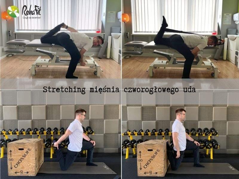 Fizjoterapeuta pokazuje alternatywne sposoby rozciągania mięśnia czworogłowego uda.