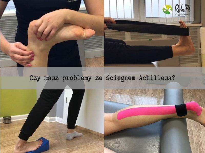 Fizjoterapeuta podczas rehabilitacji urazu ścięgna Achillesa