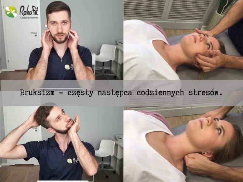 Fizjoterapeuta podczas masażu i automasażu wykonywanego w przypadkach bruksizmu.