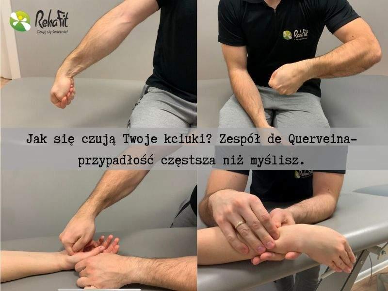Fizjoterapeuta podczas rehabilitacji zespołu bólowego kciuka.
