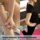Fizjoterapeutka podczas instruktażu postępowania w przypadku bólu kolana po długim siedzeniu.