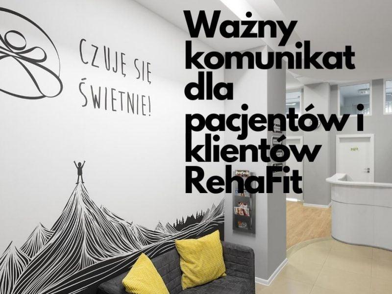Wrocławskie Centrum RehaFit podaje swoje warunki pracy podczas pandemii koronawirusa.