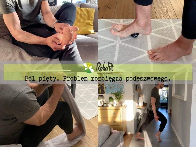 Fizjoterapeuta prezentujący przykładowe ćwiczenia w przypadku zapalenia rozcięgna podeszwowego.