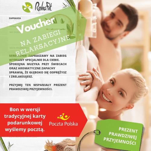 Bon podarunkowy na masaże, voucher na zabiegi relaksacyjne