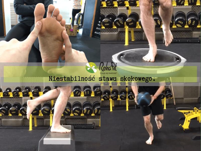 Fizjoterapeuta prezentujący ćwiczenia ukierunkowane na niestabilność stawu skokowego