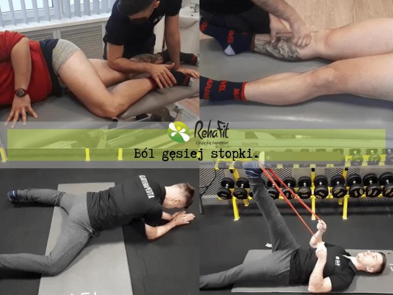 Fizjoterapeuta podczas insatruktażu ćwiczeń w przypadku bólu zlokalizowanego w obrębie gęsiej stopki