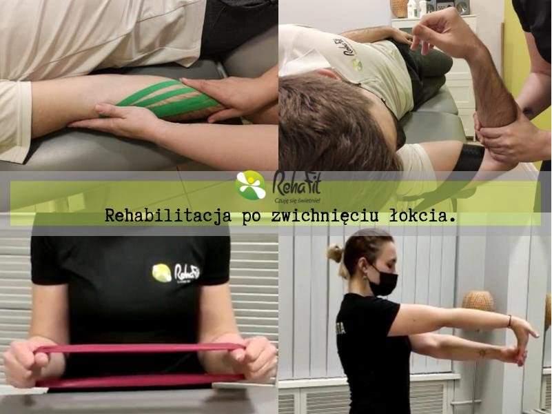 Fizjoterapeutka podczas instruktażu ćwiczeń po zwichnięciu stawu łokciowego.