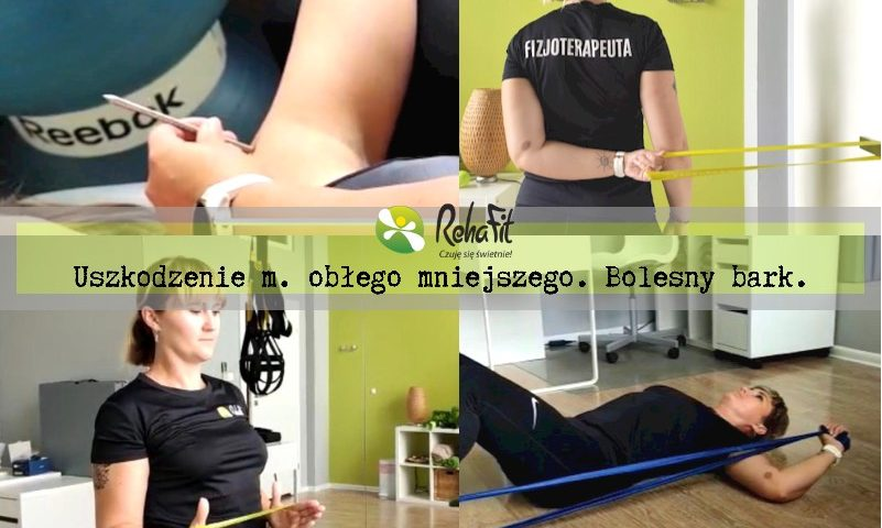 Fizjoterapeutka podczas instruktażu ćwiczeń w przypadku uszkodzenia w obrębie mięśnia obłego mniejszego.