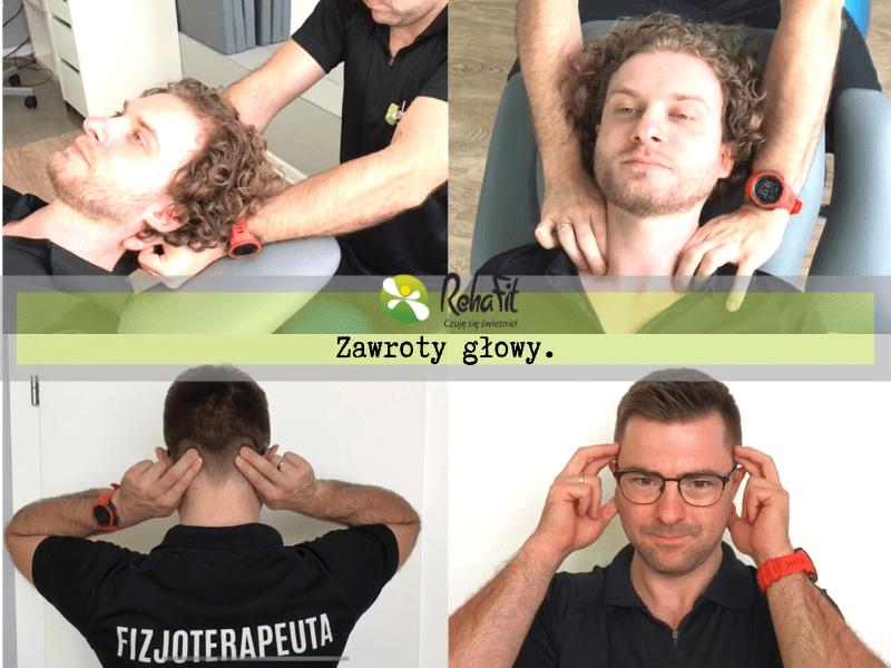 Fizjoterapeuta podczas terapii zawrotów głowy pochodzenia napięciowego.